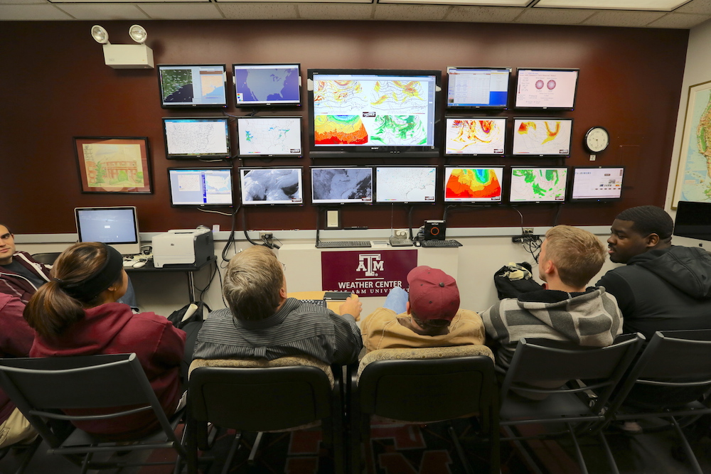 Student in Texas A&M University Weather Center
