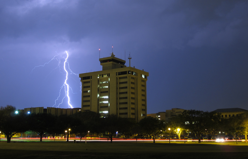 Lightning over the Eller O&M Building